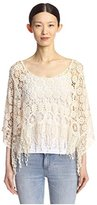 Cliche Clich Women's Sheer Lace Top with Fringe