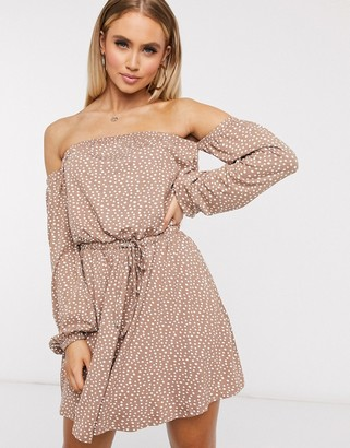 ASOS DESIGN mini dress with off the shoulder in spot print