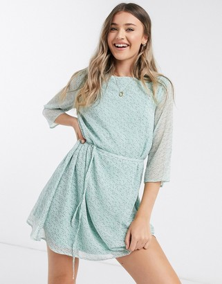 JDY jennifer chiffon sleeve skater dress in blue floral