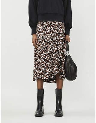 LES COYOTES DE PARIS Nova leopard-print crepe midi skirt