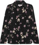 Valentino Floral-print Silk Crepe De Chine Blouse - Black