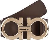 Salvatore Ferragamo Men's Gancini-Buckle Leather Belt-DARK BROWN