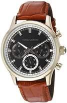 Vince Camuto Men's VC/1089BKGP Multi-Function Dial Tan Croco-Grain Leather Strap Watch