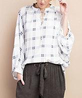 Jane Blue & White Linen-Blend Notch-Neck Tunic