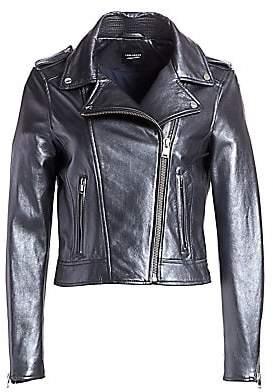 LAMARQUE Women's Donna Metallic Leather Biker Jacket