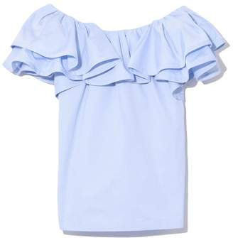 Marc Jacobs Short Sleeve Ruffle Blouse in Pale Blue