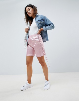 Asos DESIGN silky shorts with lace up side
