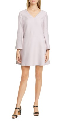 Valentino Long Sleeve Crepe Couture A-Line Minidress