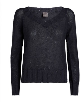 Lorena Antoniazzi Sequin-Embellished V-Neck Sweater
