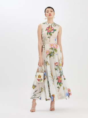 Oscar de la Renta Fil Coupe Printed Midi Dress