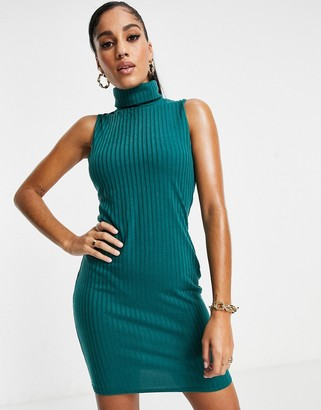 I SAW IT FIRST racer back ribbed mini bodycon dress in emerald green