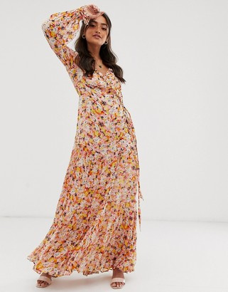 Ghost jasmine georgette floral wrap maxi dress-Orange