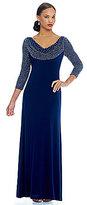 Cachet Caviar Beaded Cowl Neck 3/4 Sleeve Gown