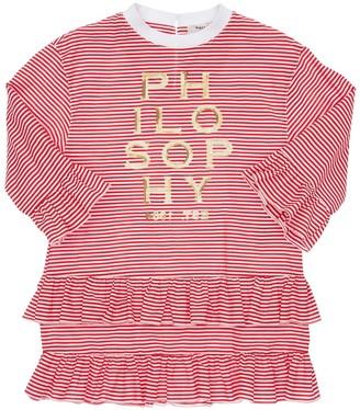 Philosophy di Lorenzo Serafini Striped Cotton Poplin Dress W/ Sequins