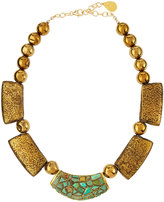 Devon Leigh Golden Turquoise & Pyrite Beaded Bib Necklace