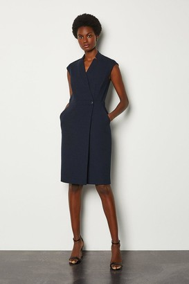 Karen Millen Collar Wrap Sleeveless Midi Dress