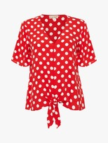 Phase Eight Marilyn Spot Blouse, Red/Ivory