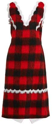Calvin Klein Lace-trimmed Checked Dress - Womens - Red Multi