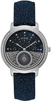GUESS Women's Blue Glitter Leather Strap Watch 40mm