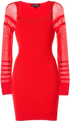 Cushnie Sheer-Sleeve Mini Dress