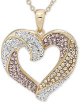 FINE JEWELRY Multicolor Crystal 14K Gold Over Silver Heart Pendant Necklace