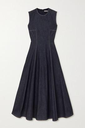 Emilia Wickstead Mara Pleated Denim Midi Dress - Blue