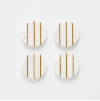 Typhoon Elements Marble and Brass Round Coasters
