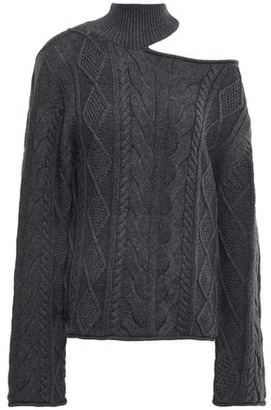 RtA Cutout Cable-knit Cotton Turtleneck Sweater