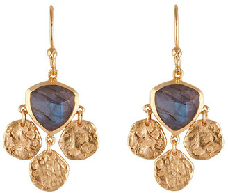 Mocha Tri Disc Earrings w/ Labradorite - Gold Two