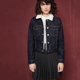 Maje Denim jacket with faux sheepskin reverse