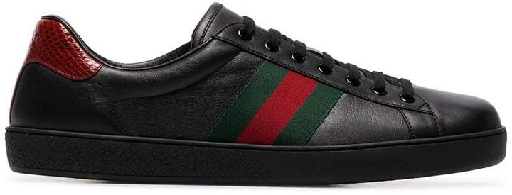 Gucci black Ace stripe leather sneakers