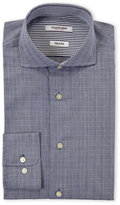 Isaac Mizrahi Blue Tattersall Plaid Slim Fit Dress Shirt