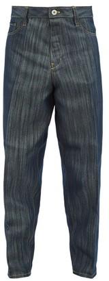 Issey Miyake Plisse Cropped Jeans - Navy