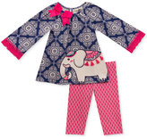 Rare Editions 2-Pc. Printed Elephant Top & Leggings Set, Baby Girls (0-24 months)