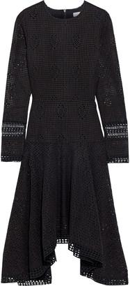 See by Chloe Asymmetric Guipure Lace-trimmed Open-knit Dress