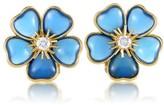 Van Cleef & Arpels 18K Yellow Gold Mimi Nerval Diamond & Blue Stone Clip-on Earrings