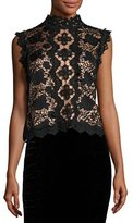 Nanette Lepore Sleeveless Boxy Lace Top, Black/Nude