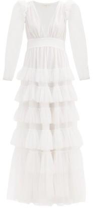 LoveShackFancy Francoise V-neck Ruffled Tulle Dress - White