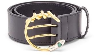 Chloé Snake C-buckle Leather Waist Belt - Navy