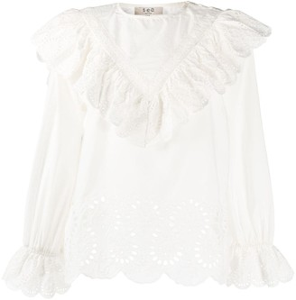 Sea Broderie Anglaise Ruffle Blouse