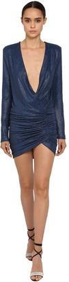 Alexandre Vauthier Crystal Embellished Jersey V Neck Dress