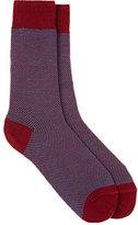 Barneys New York Men's Birdseye-Knit Cotton-Blend Mid-Calf Socks