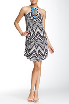 T-Bags LosAngeles Tbags Halter Neck Beaded Front Printed Dress