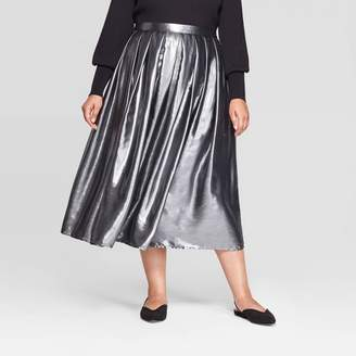 Who What Wear Women's Plus Size Mid-Rise Flowy Midi Skirt - Who What WearTM Silver