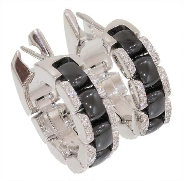 Chanel Ultra Collection 18K White Gold & Black Ceramic Diamonds Earrings