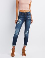 Charlotte Russe Distressed Patchwork Skinny Boyfriend Jeans