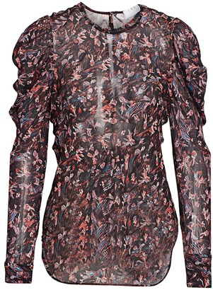 IRO Lou Floral Puff Sleeve Blouse