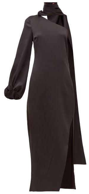 STAUD Farrah One-shoulder Slit Satin Maxi Dress - Black