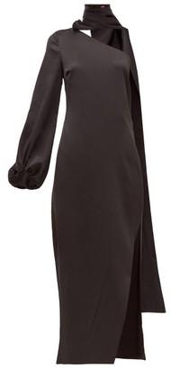 STAUD Farrah One-shoulder Slit Satin Maxi Dress - Womens - Black