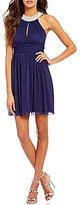Xtraordinary Faux-Pearl Neckline A-line Party Dress